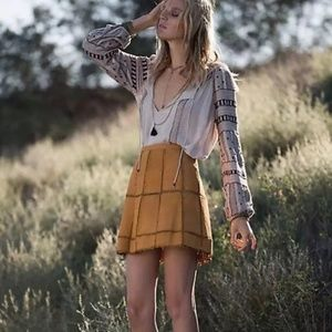 Free People | Peace Out Leather Suede Mini Skirt